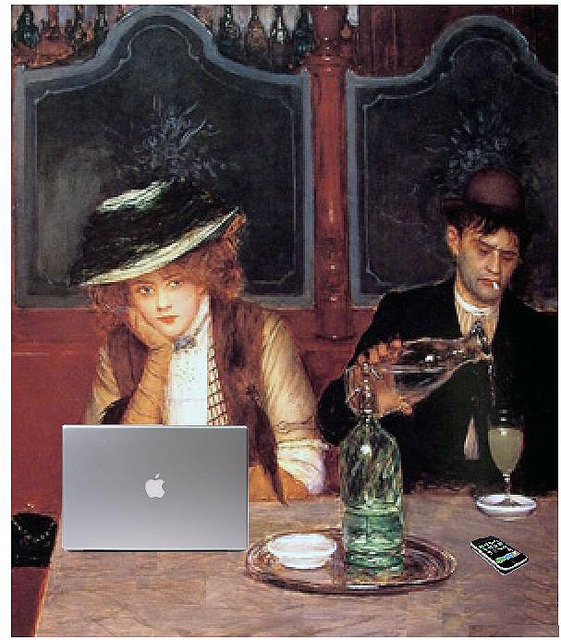 Internet Café, after Jean Béraud.