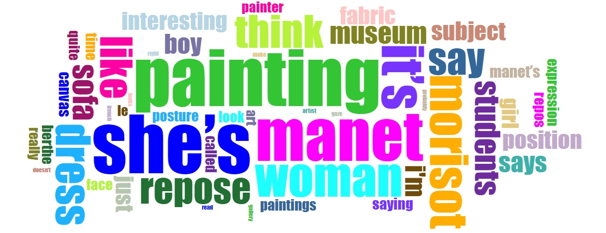 Word cloud of Manet's Le Repos interpreted by the RISD Museum
